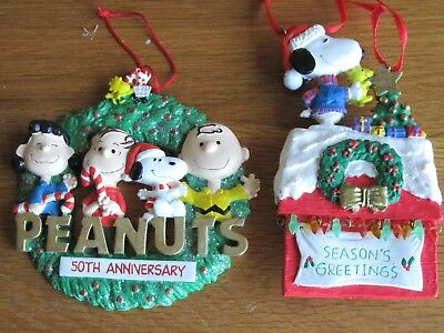 """Snoopy / Peanuts  Ornaments Lot Of 2 50 Years And Dog House 4"""" Flat Musical"""