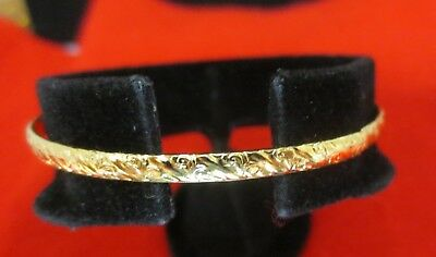 14Kt Gold Ep  Designer Scroll Pattern Work Childrens Bangle-B