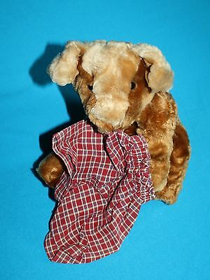 """Animal Alley DOG 10"""" Red Plaid Boxer Shorts Stuffed Brown Soft Toy Puppy Plush"""