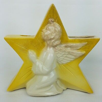 Vintage Royal Copley Praying Angel Yellow Star Candle Holder Vase Christmas