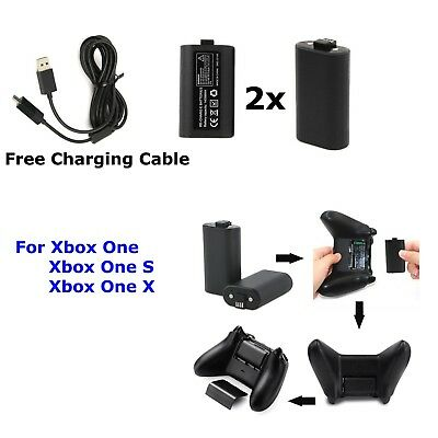 2x XBox One One S , X Charge and Play Kit Rechargeable Battery & Charging Cable