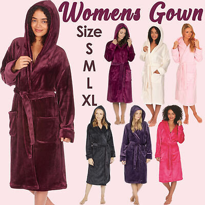 Womens Hooded Dressing Gown Bath Robe Flannel Soft Plush Fleece Gowns For Ladies