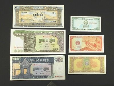 Cambodia -- Six Pre- and Post-Khmer Rouge Uncirculated Banknotes