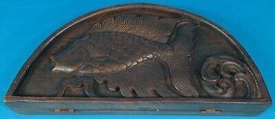 Rare Antique Chinese Opium Scales w/ Engraved Fish Wood Case