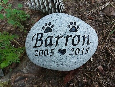 Pet Memorial Stone Dog or Cat personalized engraved river stone