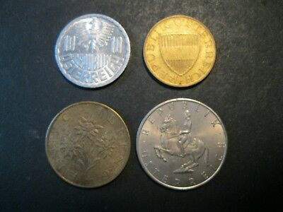 LOT of 4 AUSTRIA Coins - 10 & 50 Groschen and 1 & 5 Schillings - 1970s