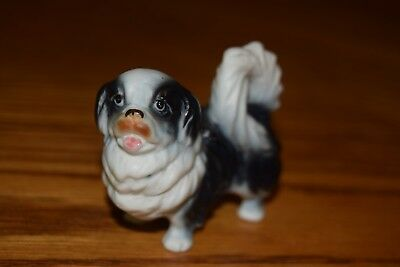 Vintage Pekingese Black and White Dog Figurine
