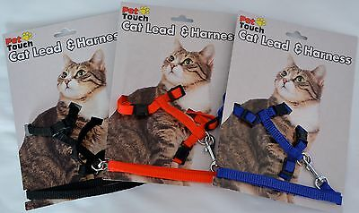 Cat Harness and Lead Red, Blue and Black