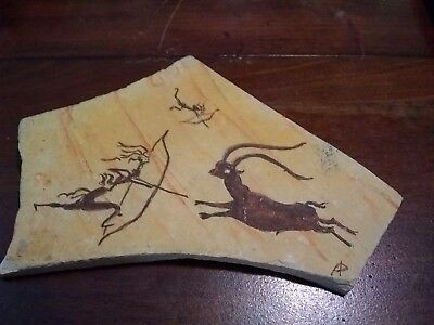 Mesolithic cave painting on slate