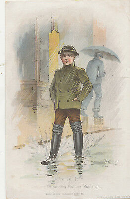 C9558  Victorian Trade Card Storm Kings Rubbber Boots  Worlds Fair Exhibit