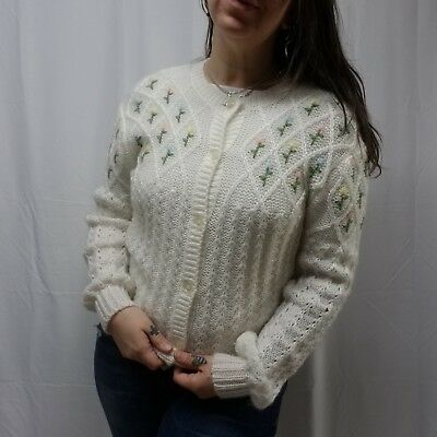 Vtg EXPRESS White Acrylic Granny Cardigan Sweater with Pastel Floral Womens S/M