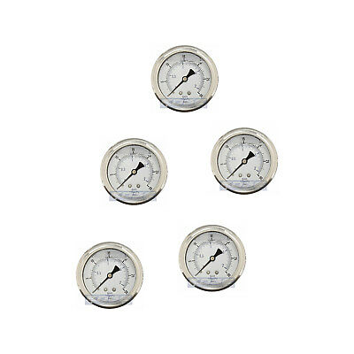 "5 Pack Liquid Filled Pressure Gauge 0-30 Psi, 2.5"" Face, 1/4"" Back Mount Wog"