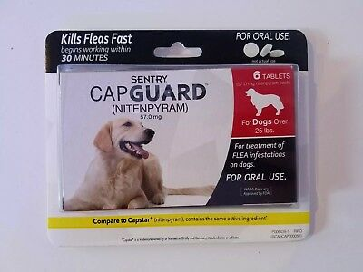 New SENTRY CapGuard Flea Tablets for Dogs Over 25 lbs (6 Tablets) Exp. 01/2020