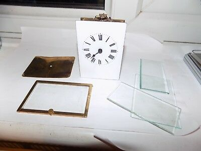 ANTIQUE MECHANICAL WIND 8 Day PLATFORM CARRIAGE CLOCK MOVEMENT & GLASS WINDOWS