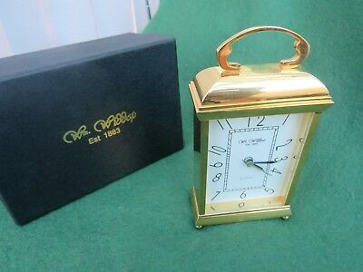 William Widdop Brass Carriage Clock With White Dial Quartz Movement Boxed