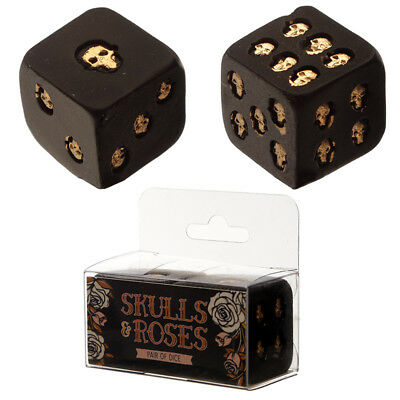 Gothic Black and Gold Set of 2 Skull Dice Fantasy Gothic Decoration Xmas Gift