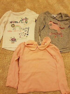 3 x Girls Tops Cotton Long Sleeves Bundle 18-24 months