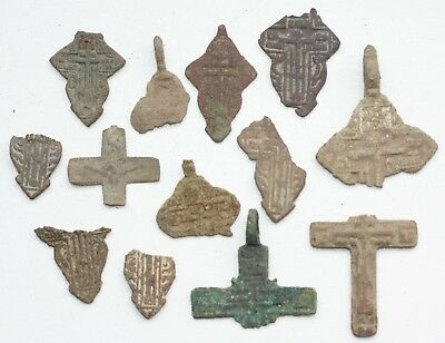 Group Of Ancient Bronze Crosses Fragments (ARL)