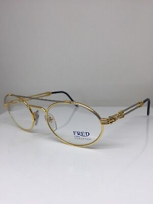 New Vintage FRED Lunettes Winch Gold Bicolore C. 001 Eyeglasses Made France 53mm