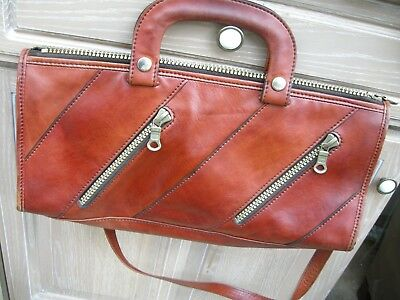 Made in Italy  Leather handbag Shoulder/ Crossover bag Brown leather by Firenze