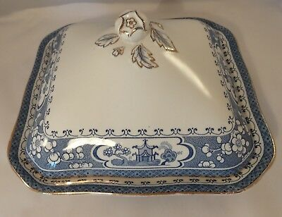 "Vintage Maling Ware Oriental Blue & White Lidded 9 1/2"" Square Tureen c1930 VGC"