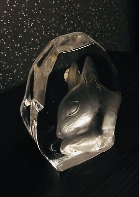 Vintage Squirrel Carved Lead Glass Crystal Paperweight