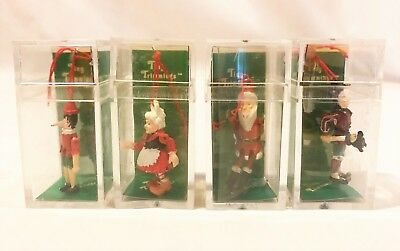 4 DEPT 56 TINY TRIMMINGS Pewter Ornaments Christmas CLAUSE PINOCCHIO JESTER NOS