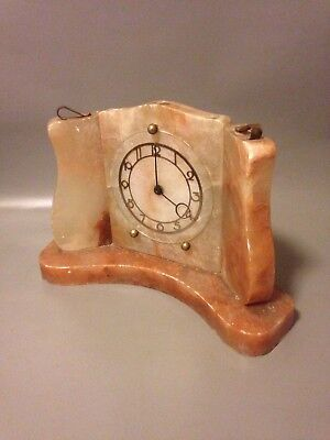 Smiths Art Deco Red/green Marble Mechanical Mantle Clock 1940s/50s Onyx Working