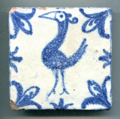 """Hand painted 4¼""""sq Islamic/North Africa tile by unidentified maker, c1950s"""