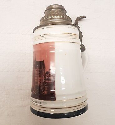 RARE UNIQUE BOTTOM Antique German Germany Schloss Neuschwanstein Mug Stein