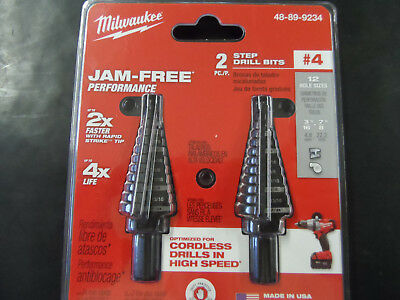 Milwaukee 48-89-9234 #4 Step Drill Bit, 3/16 in. - 7/8 in. by 1/16 in. 2 pack