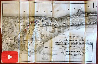Revolutionary War Map Of New York.Manhattan New York City Revolutionary War Map 1868 Harlem Heights