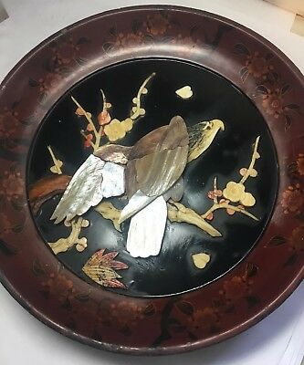 "Antique Lacquer & Shell 9.5"" Plate Eagle On Branch Japanese"