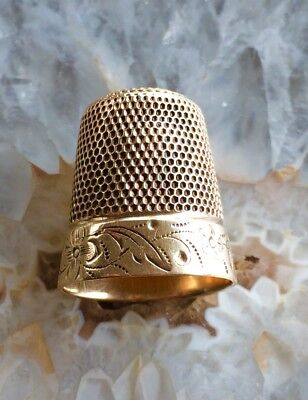 Antique 14 Kt. Solid Yellow Gold Engraved Thimble Hallmarked Simons Brothers