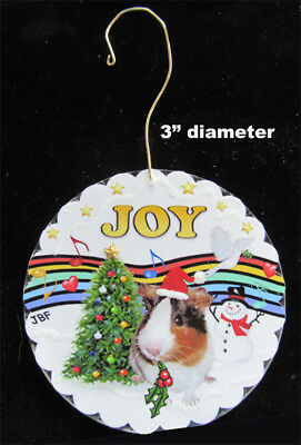 """NEW Double Sided Ornament:  Tri color Guinea Pig in """"Christmas Music"""" by artist"""
