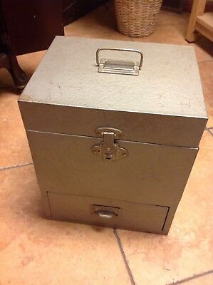 Vintage Rockaway Metal Check  File Drawer Box Security Lockbox 2 Keys.