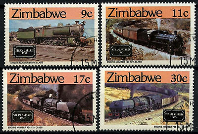 Zimbabwe 1985 SG#653-6 Steam Safaries, Railway Locomotives Cto Used Set #D50892