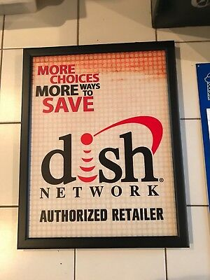 Original Advertising Cable Tv Television Sign Dish Network Authorized Retailer