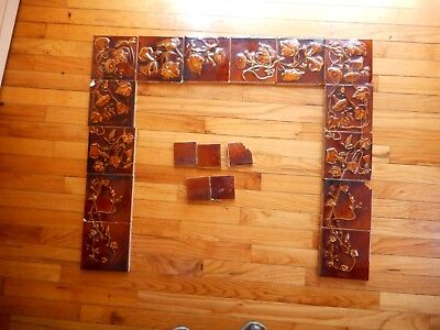 Antique Art Nouveau American Art Pottery TRENT Tiles Fireplace Surround Floral