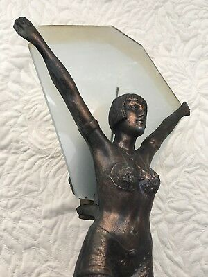 Art Deco Lady Dancer Lamp with frosted glass shade
