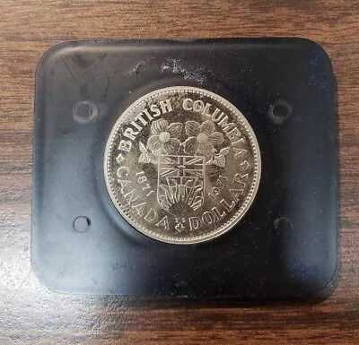 1971 Canada British Columbia Commemorative One Dollar Proof like Coin With Box