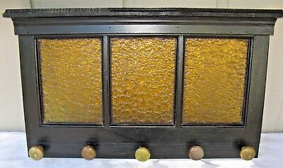 Vtg Yellow Obscured Glass Door w 5 Antique Brass Door Knobs,Coat / Hat Rack, 32""