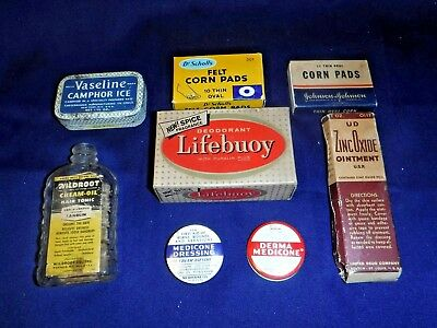 Vintage Lot 8 Advertising~Medicine Cabinet~Tins~Boxes~Ointment~Drugstore~Glass