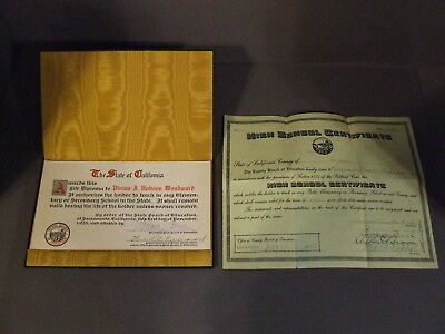 California Life Diploma And High School Certificate 1924-26 For Vivian Woodward
