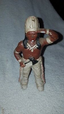 Vintage Cast Iron Indian Chief with Tomahawk Bank 6 inches tall