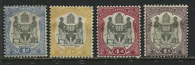 British Central Africa 1897 1d, 2d, 4d, and 1/ mint o.g.