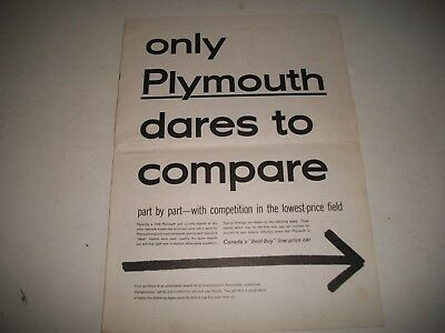 """1954 Plymouth  Salesmans Brochure Cdn. """"dares To Compare To Ford & Chevrolet"""""""