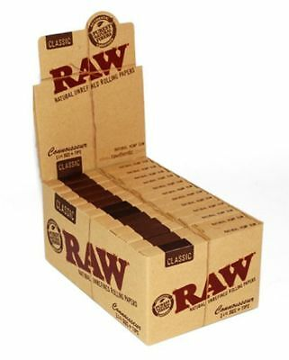 RAW Connoisseur Classic 1.25 Rolling Paper + Tips - 12 PACKS - 1 1/4 Papers