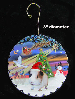 """NEW Double Sided Ornament:  Guinea Pig in Santa hat -""""Christmas Magic"""" by artist"""
