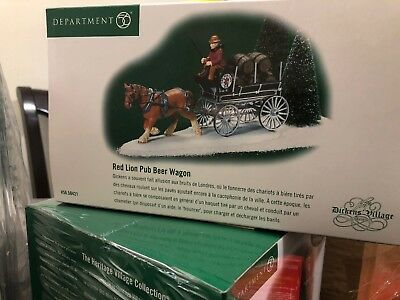 Red Lion Pub Beer Wagon Dept 56 Dickens Village 58421 Christmas accessory snow A